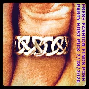 HP💕Vintage Peter Stone Celtic Knot Sterling Ring